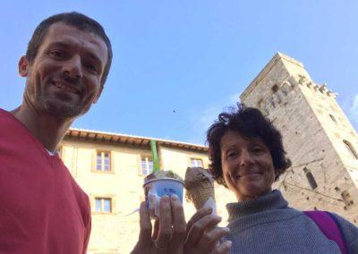 The well deserved Gelato - San Gimignano Easy bike tour | bikeinflorence.com