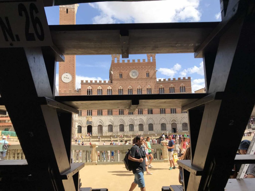 Il Campo as seen through the bleachers set up for the Siena Palio race :: Bike Florence & Tuscany