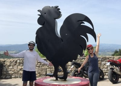Florence to Siena one-day tour Crossing Chianti to Siena   The black rooster in Castellina in Chianti   bikeinflorence.com